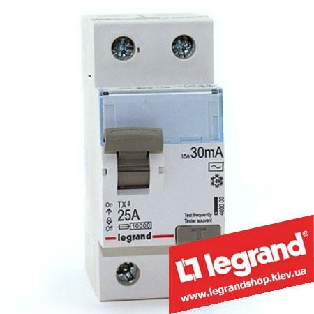 Дифреле (УЗО) Legrand TX3 2-п 25A 30mA (Тип AC) 403000