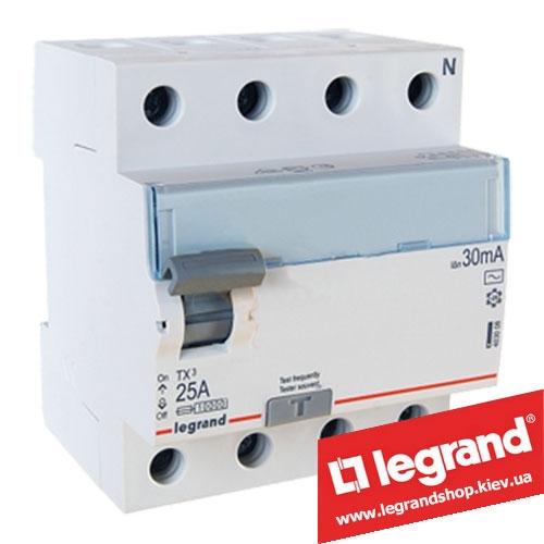 Дифреле (УЗО) Legrand TX3 4-п 25A 30mA (Тип AC) 403008