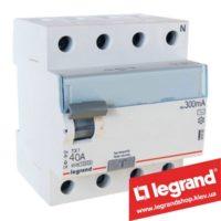 Дифреле (УЗО) Legrand TX3 4-п 40A 300mA (Тип AC) 403043
