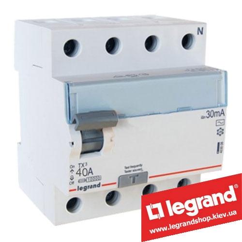 Дифреле (УЗО) Legrand TX3 4-п 40A 30mA (Тип AC) 403009