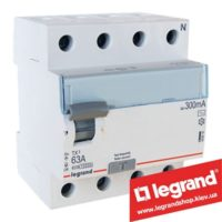 Дифреле (УЗО) Legrand TX3 4-п 63A 300mA (Тип AC) 403044