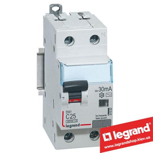 Дифференциальный автомат Legrand DX3 1п+N C25A 30mA (Тип AC) 411004