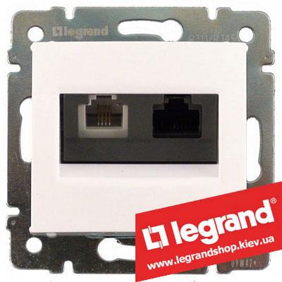 Розетка компьютер+телефон Legrand Valena 770080 (белая)