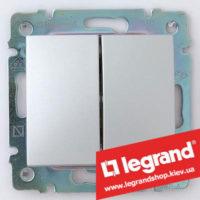 Переключатель на 2 направл. двухклавишный Legrand Valena 10А (проходной или лестничный) 770108 (алюминий)