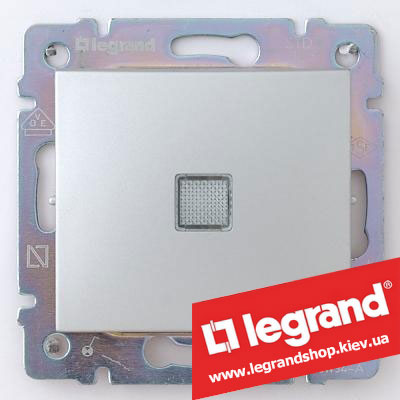 Выключатель одноклавишный с подсветкой Legrand Valena 10А 770110 (алюминий)