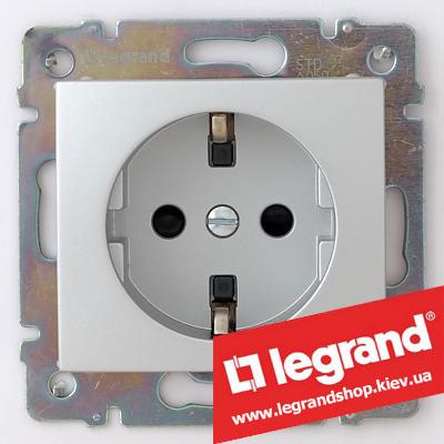 Розетка с заземлением, Legrand Valena 16А 770120 (алюминий)