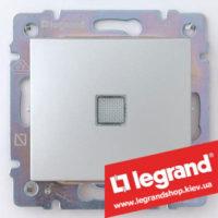 Переключатель на 2 направления с подсветкой Legrand Valena 10А (проходной или лестничный) 770126 (алюминий)