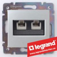 Розетка двойная телефонная Legrand Valena 770139 (алюминий)