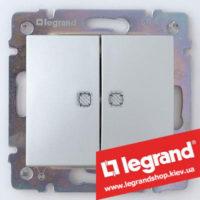Двухклавишный переключатель на 2 направления с подсветкой Legrand Valena 10А (проходной или лестничный) 770212 (алюминий)