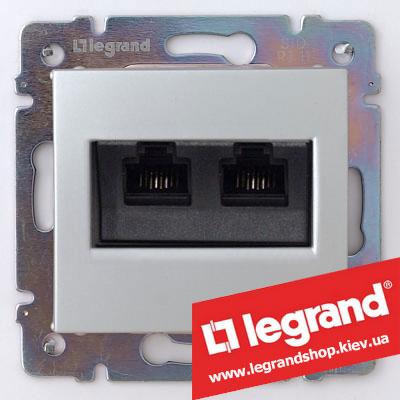 Розетка двойная компьютерная Legrand Valena 770231 (алюминий)