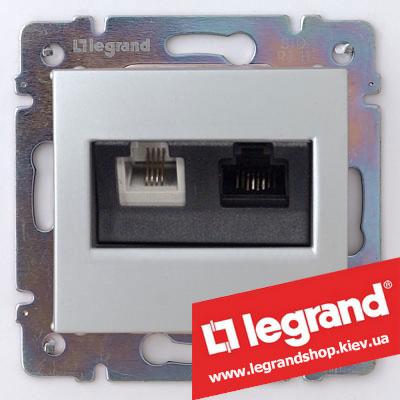 Розетка компьютер+телефон Legrand Valena 770280 (алюминий)