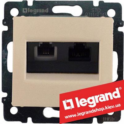 Розетка компьютер+телефон Legrand Valena 774180 (слоновая кость)