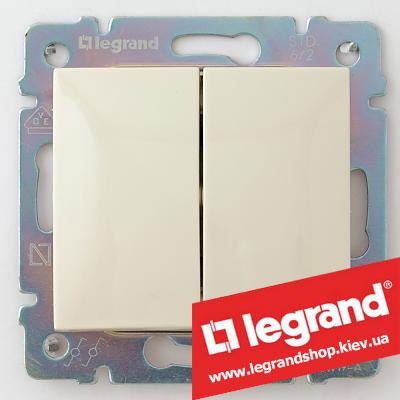Переключатель на 2 направл. двухклавишный Legrand Valena 10А (проходной или лестничный) 774308 (слоновая кость)