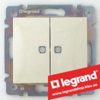 Выключатель двухклавишный с подсветкой Legrand Valena 10А 774328 (слоновая кость)