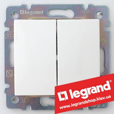Переключатель на 2 направл. двухклавишный Legrand Valena 10А (проходной или лестничный) 774408 (белый)