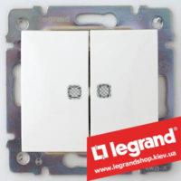 Двухклавишный переключатель на 2 направления с подсветкой Legrand Valena 10А (проходной или лестничный) 774212 (белый)