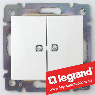 Выключатель двухклавишный с подсветкой Legrand Valena 10А 774428 (белый)