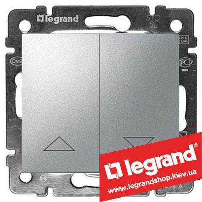 Выключатель для управления жалюзи двойной Legrand Valena 10А 770104 (алюминий)