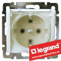 Розетка с заземлением Legrand Valena с прозрачной крышкой, 16А IP44 774220 (белая)