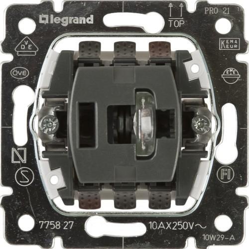 Механизм переключатель промежуточный с подсветкой 10А.