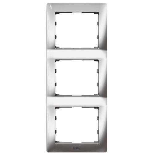 Рамка трехпостовая вертикальная 771937 (хром) купить Legrand Galea Life в Киеве