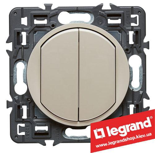 Выключатель (переключатель) 2-кл. Legrand Celiane с клавишей (слоновая кость)