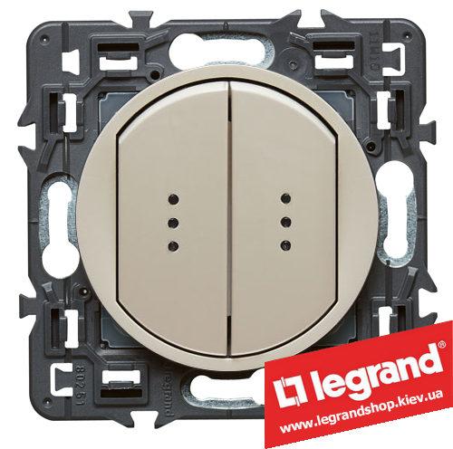 Выключатель (переключатель) 2-кл. с подсветкой Legrand Celiane с клавишей (слоновая кость)