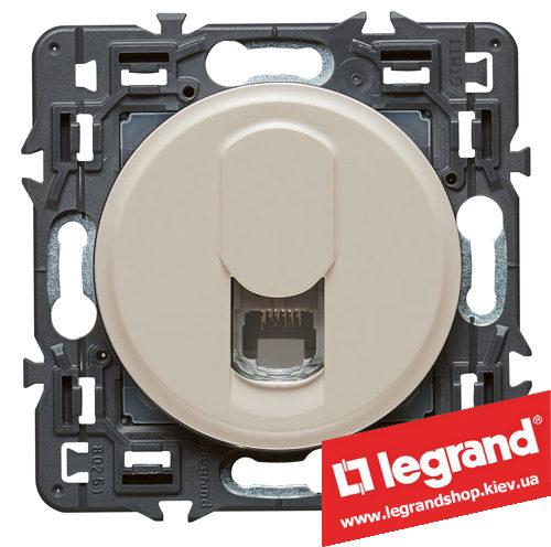 Розетка телефонная RJ11 Legrand Celiane с лицевой панелью (слоновая кость)