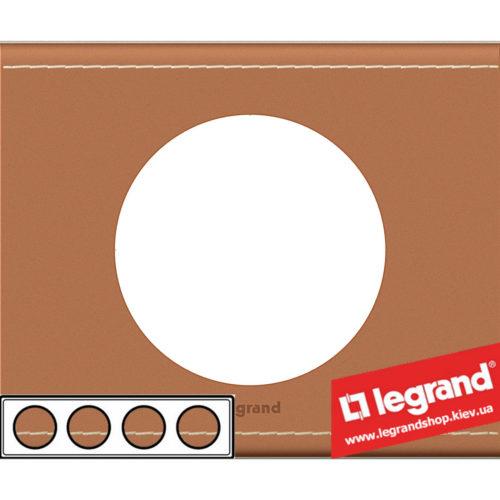 Рамка 4-я Legrand Celiane 69284 (кожа крем-карамель)
