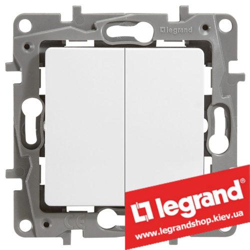 Выключатель двухклавишный Legrand Etika 10А (белый) винты