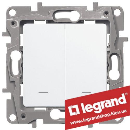 Выключатель двухклавишный с подсветкой Legrand Etika 10А (белый)