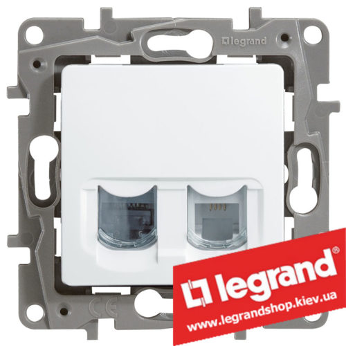 Розетка телефон + компьютер Legrand Etika (белая)
