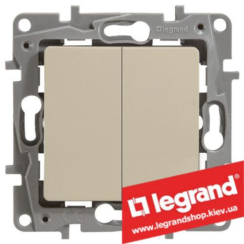 Выключатель двухклавишный Legrand Etika 10А (слоновая кость) винты