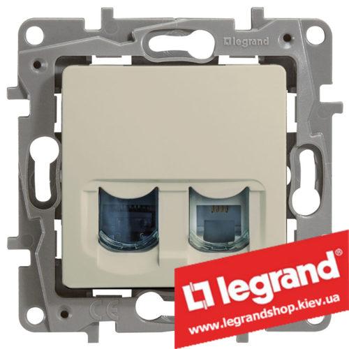 Розетка телефон + компьютер Legrand Etika (слоновая кость)