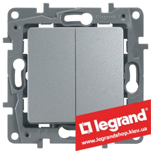 Переключатель на 2 направл. двухклавишный Legrand Etika Plus 10А (алюминий) клеммы