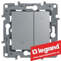 Светорегулятор кнопочный Legrand Etika 20-400Вт (алюминий)