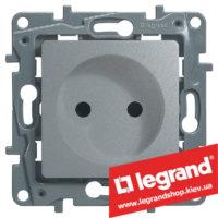 Розетка без заземления Legrand Etika Plus 16А (алюминий) клеммы