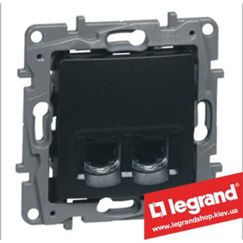 Розетка телефон + компьютер Legrand Etika (антрацит)