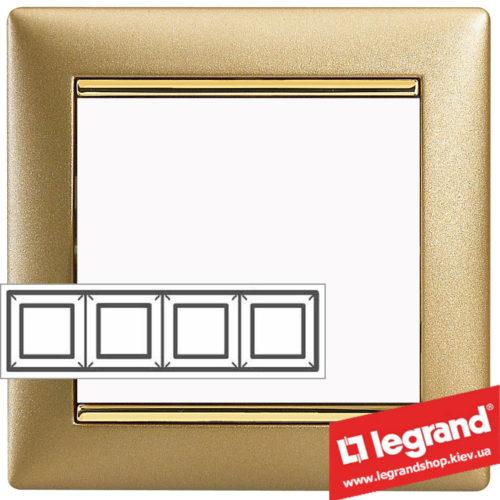 Рамка четырехпостовая Legrand Valena 770304 (матовое золото)