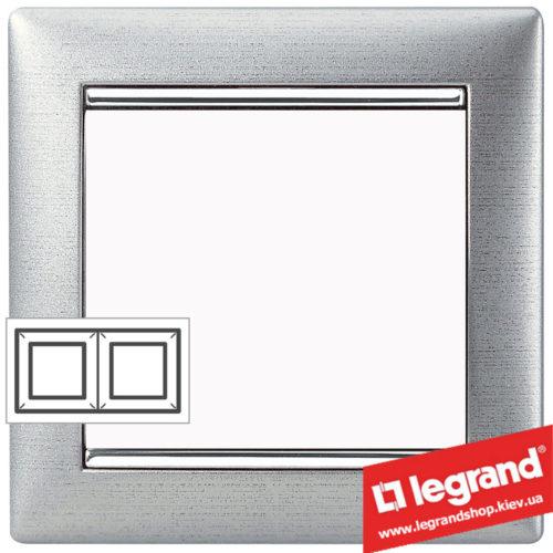 Рамка двухпостовая Legrand Valena 770332 (алюминий матовый)