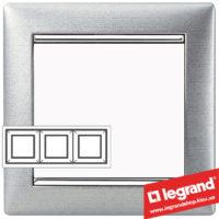 Рамка трехпостовая Legrand Valena 770333 (алюминий матовый)