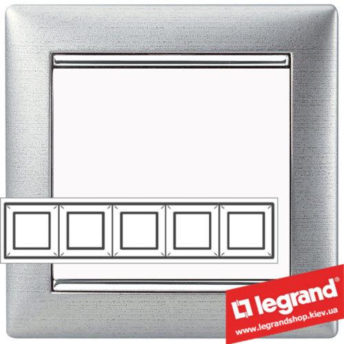 Рамка пятипостовая Legrand Valena 770335 (алюминий матовый)