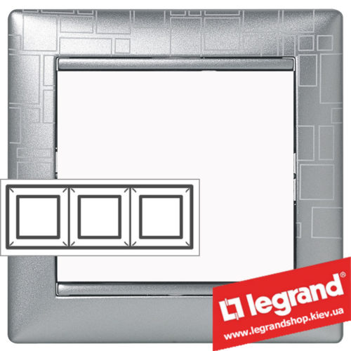 Рамка трехпостовая Legrand Valena 770343 (алюминий модерн)