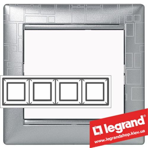 Рамка четырехпостовая Legrand Valena 770344 (алюминий модерн)