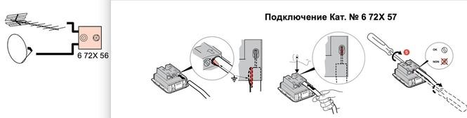 Схема подключения и способ монтажа розетки TV/SAT Legrand Etika 672457.