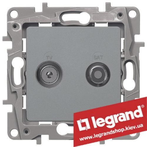 Розетка TV+SAT Legrand Etika на 2 кабеля 672457 (алюминий)