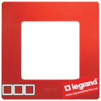 Рамка 3-я Legrand Etika 672533 (красная)