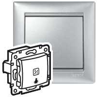 Кнопка Legrand Valena с подсветкой и символом лампы 10А 770113 (алюминий)