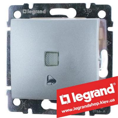 Кнопка Legrand Valena с подсветкой и символом звонка 10А 770115 (алюминий)