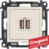 Розетка USB Valena Life для зарядки двойная 753512 (слоновая кость)